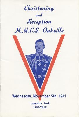 HMCS Oakville Christening Ceremony Program - front cover