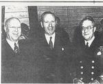 Oakville's Mayor Deans, Defence Minister Angus MacDonald, and Admiral Percy Nelles at the HMCS Oakville's Christening Ceremony