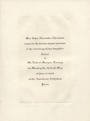 Juliet Chisholms Wedding Invitation