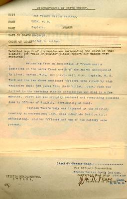Circumstances of Death Report for Captain William Sinclair Tuck