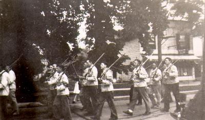 Oakville-Trafalgar Civil Guard parade on Allan Street c. 1943