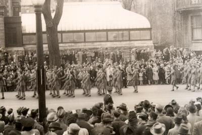 Canadian Women's Army Corps marching in a Victory Loan Parade, 2 May 1943, Montreal. Courtesy the Oakville Museum.