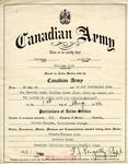 Canadian army document certifying active service on the part of Private William Cook from 25 May 1943 to discharge date of 1 August 1946.