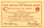 National Civil Defence Safe Driving Award granted to Audrey Johnson by the Banstead Urban District Council, Britain.