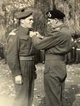 John MacMorran (Jock) Anderson receiving his first Military Cross - invested by Field Marshall Montgomery in Ghent, Belgium, October 1944.