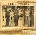 Newspaper clipping: Alvin and Irene Bumby's wedding announcement c. March 1943.