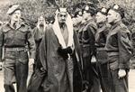 Lt. Roy Kelley (far left), Royal Guard Commander for the Faisal brothers' visit to England from Saudi Arabia, 1943