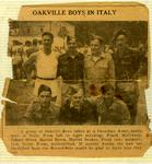 "Newspaper article ""A Group of Oakville Boys taken at a Canadian Army sports meet"" Top row (left to right): Frank McCraney, James Steed, Harold Byers, Grant Hughes; Bottom row (left to right): Aaron Brown, Gerry Kress, Norman Flaxman"