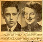 Wedding announcement for Emily Joyce Dunham and Geoffrey Smith, June 3rd, 1944