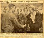 Newspaper clipping: Princess Juliana congratulates Peter Taylor, August 11, 1945